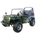 Coolster GK-6125A 125cc Jeep Go Kart with 3-speed Semi-automatic Transmission w/Reverse, Big 18'' Chrome Wheels, Army Green