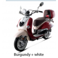 BMS 150cc Heritage 2-tone Premium Gas Scooter Moped Burgundy White
