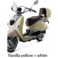 BMS 150cc Heritage 2-tone Premium Gas Scooter Moped Vanilla Yellow White