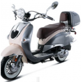 BMS 150cc Heritage 2-tone Premium Gas Scooter Moped Silver White