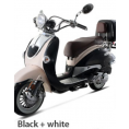 BMS 150cc Heritage 2-tone Premium Gas Scooter Moped Black White