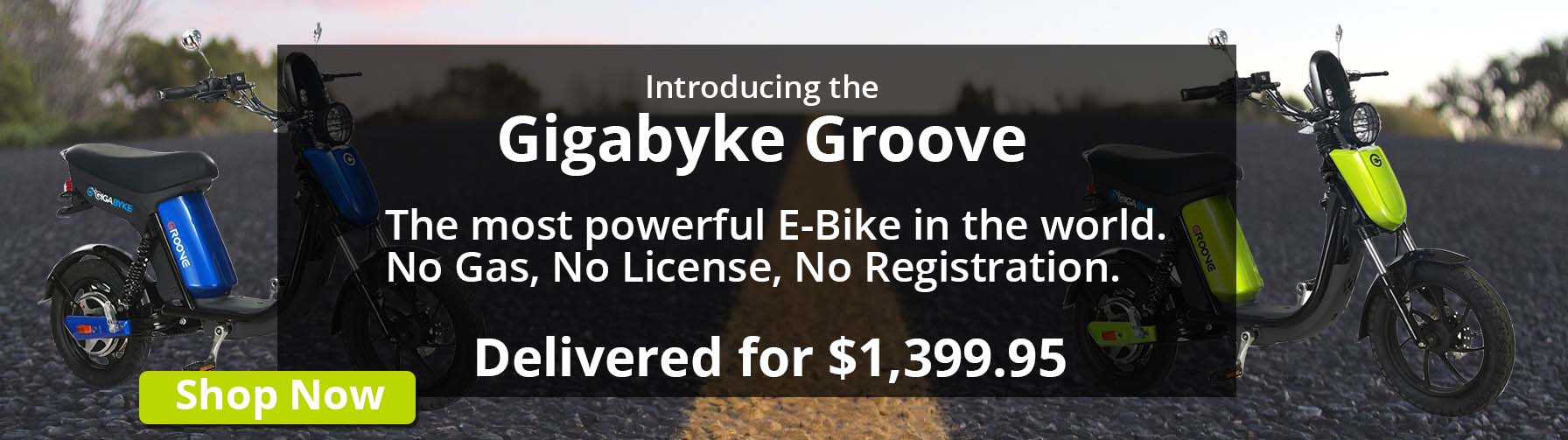 Introducing the Gigabyte Groove - The most powerful E-Bike in the world. No Gas, No License, No Registration. - Delivered for $1,399.95